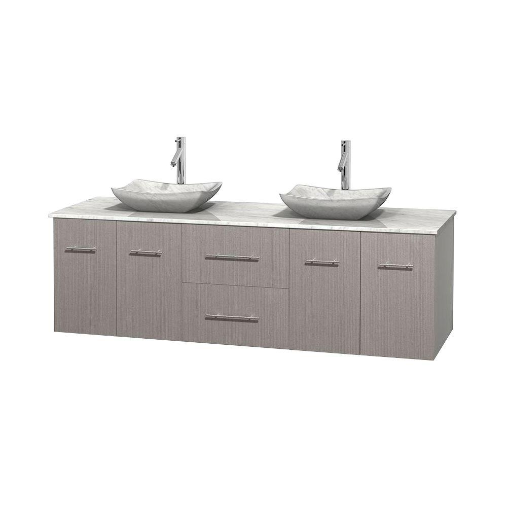 Centra 72 in. Double Vanity in Gray Oak with Marble Vanity