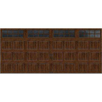 Gallery Collection 16 ft. x 7 ft. 18.4 R-Value Intellicore Insulated Ultra-Grain Walnut Garage Door with SQ24 Window
