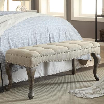 Loire Cabriolet Washed Natural Linen Bench