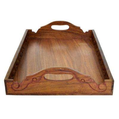 Brown Wooden Serving Tray with Cutout Handles in Antiqued