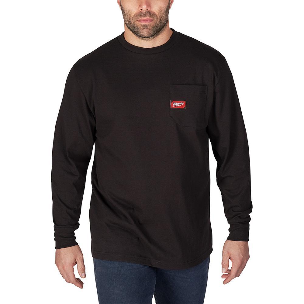 Men's X-Large Black Heavy Duty Cotton/Polyester Long-Sleeve Pocket T-Shirt