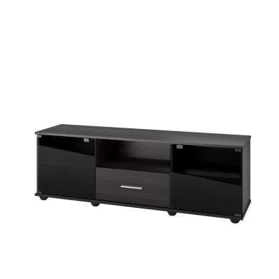 Fernbrook Black Faux Wood Grain TV Stand for TVs up to 70 in.