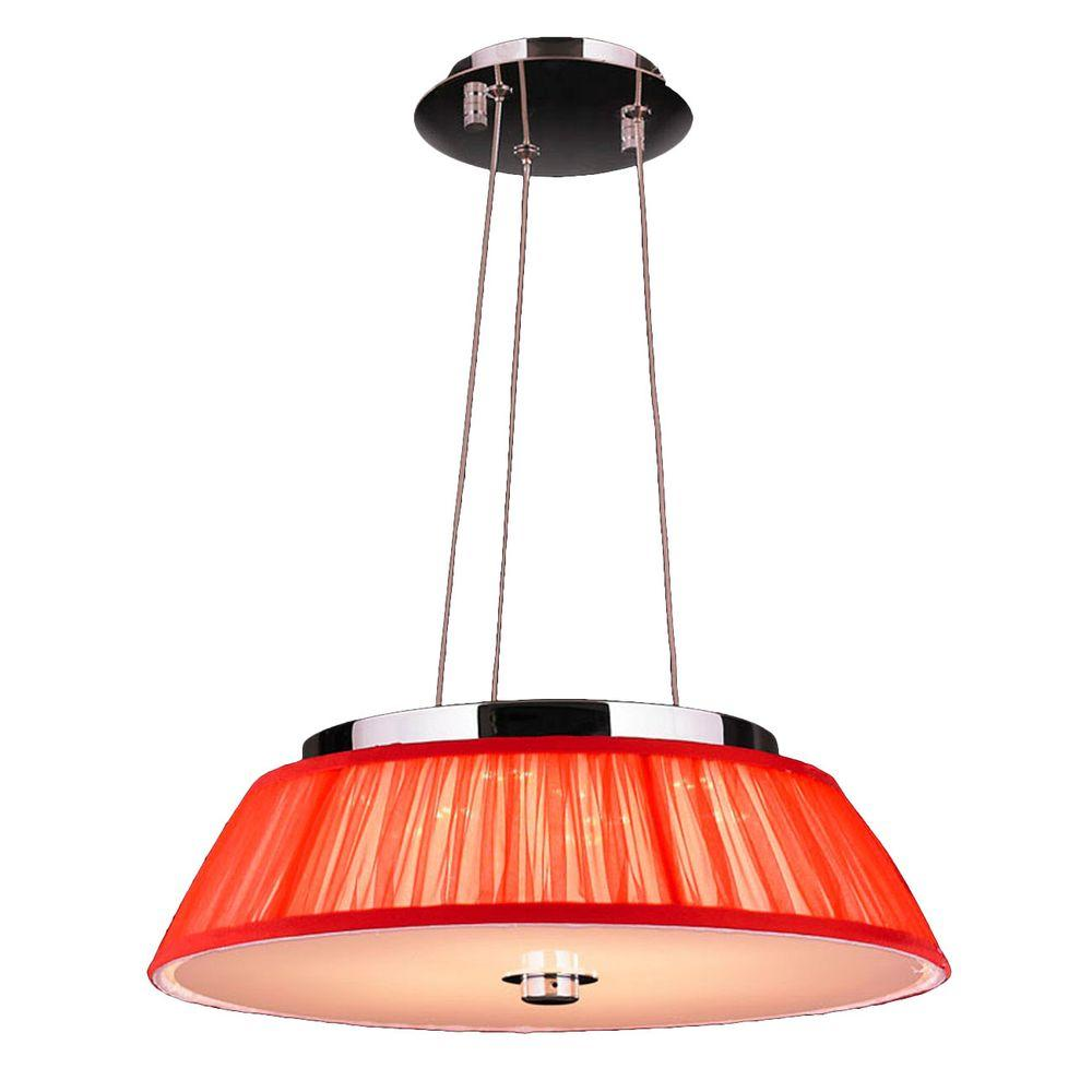 Worldwide Lighting Alice 6-Light Polished Chrome with Red...
