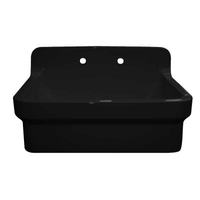 Old Fashioned Country Farmhouse Apron Front Fireclay 30 in. 2-Hole Single Bowl Kitchen Sink in Black