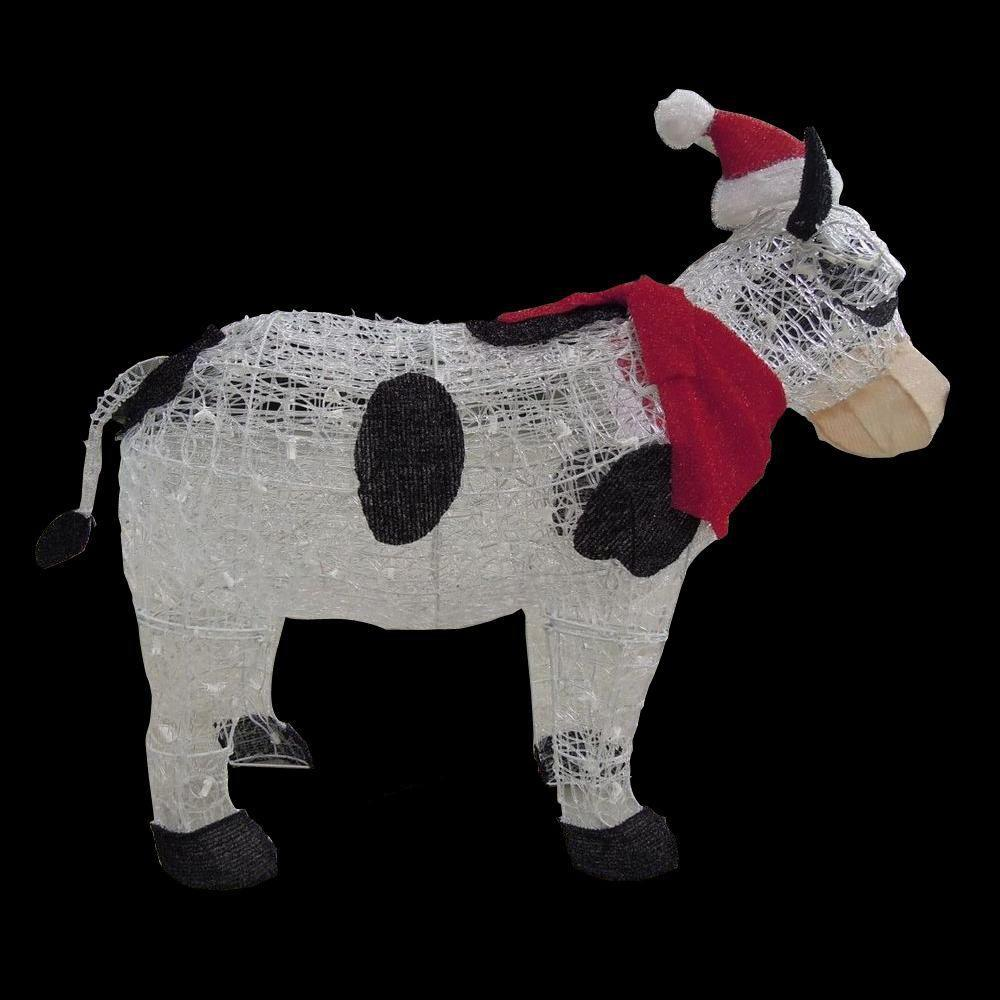 Home accents holiday 36 in pre lit cow with santa hat for Christmas yard ornaments
