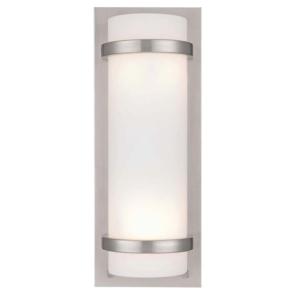 Minka lavery 2 light brushed nickel sconce 341 84 the home depot aloadofball Image collections