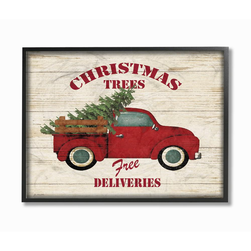 Vintage Merry Christmas.11 In X 14 In Merry Christmas Vintage Tree Truck By Jo Moulton Wood Framed Wall Art