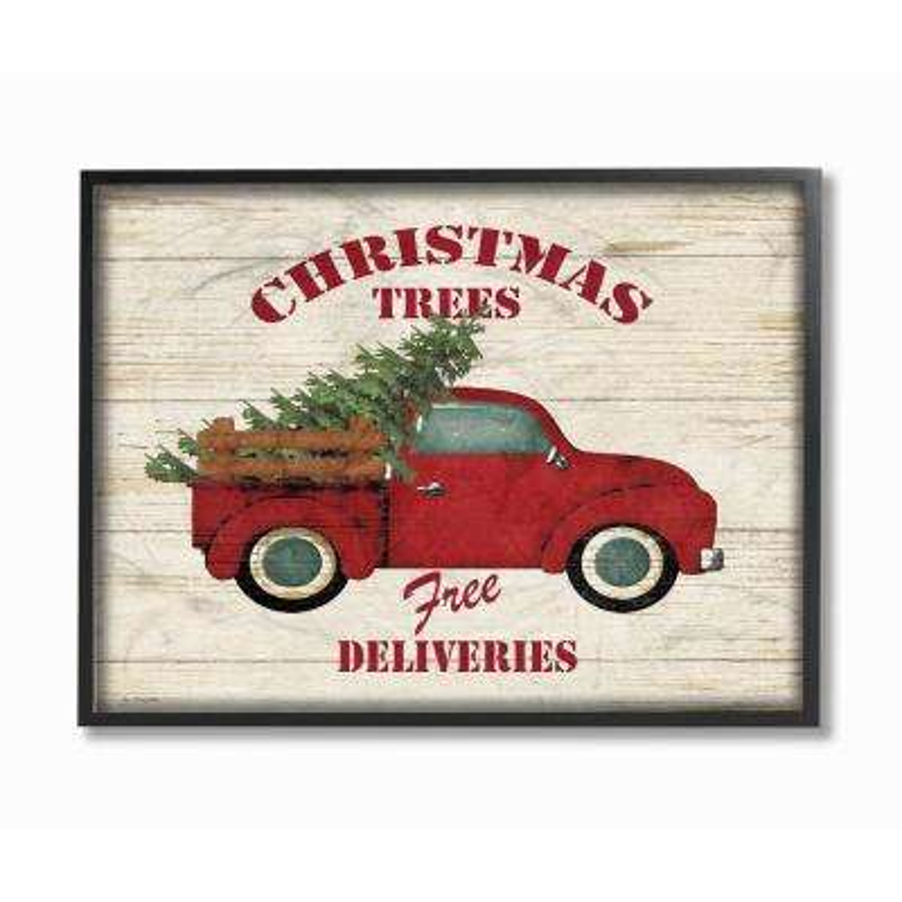 "11 in. x 14 in. ""Merry Christmas Vintage Tree Truck"" by Jo Moulton Wood Framed Wall Art"