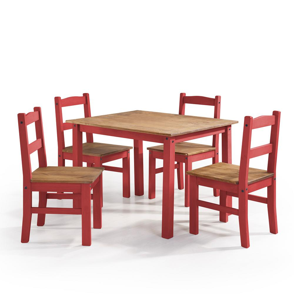 Manhattan Comfort York 5 Piece Red Wash Solid Wood Dining Set With 1 Table