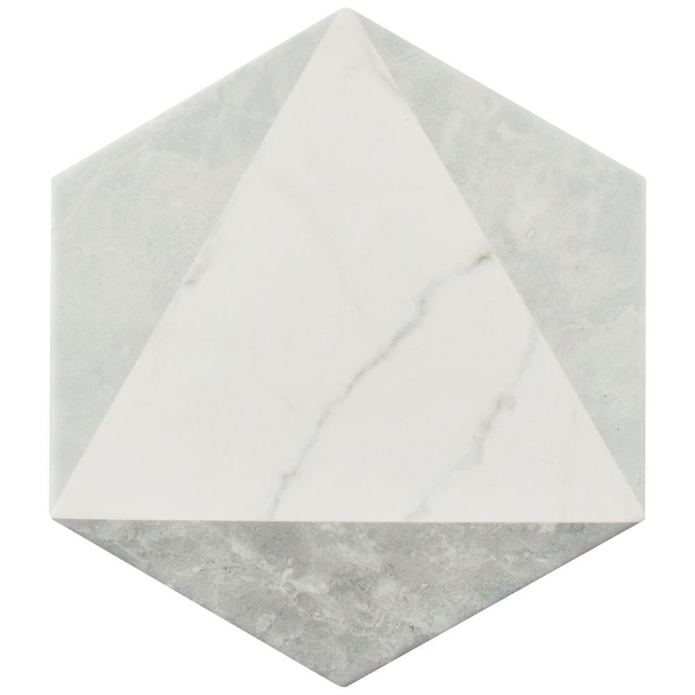 Merola Tile Classico Carrara Hexagon Peak 7 in. x 8 in. Porcelain Floor and Wall Tile (7.67 sq. ft. / case)