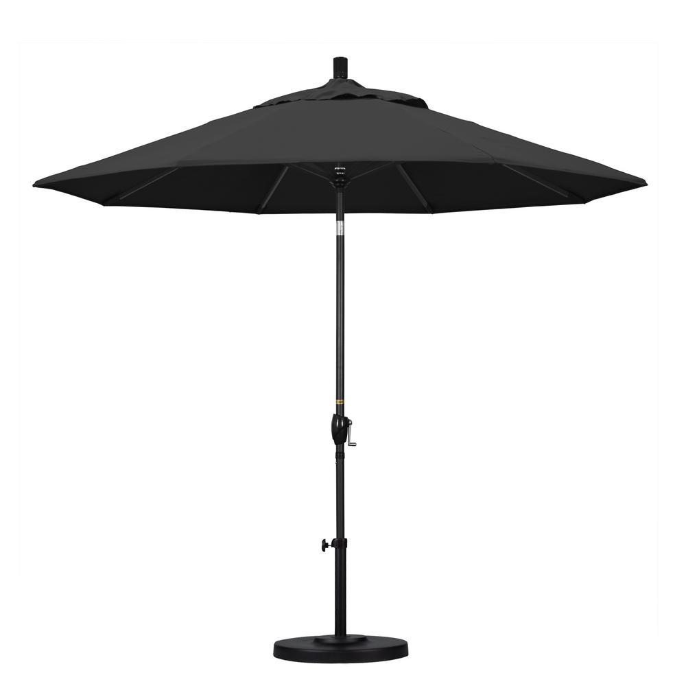California Umbrella 9 ft. Aluminum Push Tilt Patio Umbrella in Black Pacifica