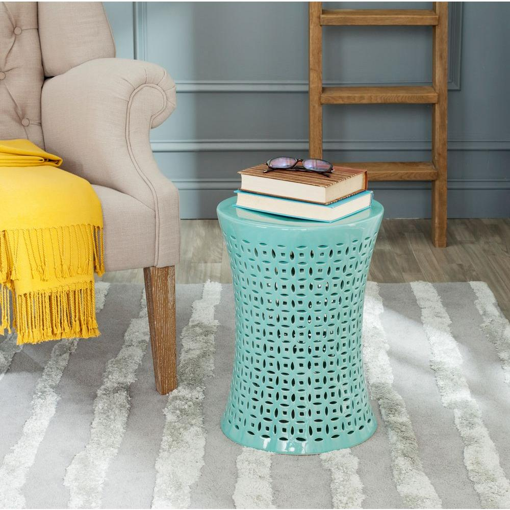 Safavieh Camilla Aqua Garden Patio Stool Acs4550c The