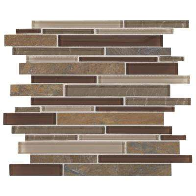 Stone Decor Rustic Slate with Mixed Color Glass 12 in. x 14 in. x 8 mm Stone and Glass Random Linear Mosaic Tile