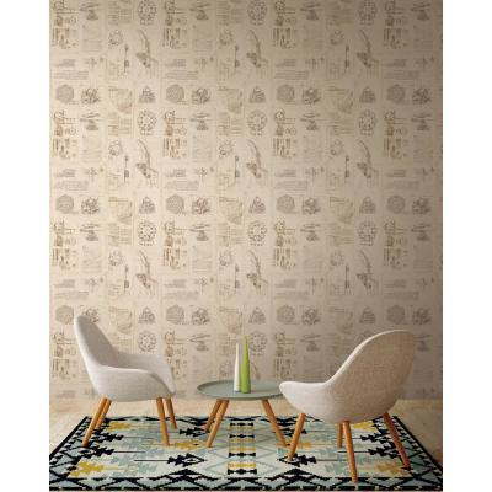 Schizzi Papiro Beige Sketch Wallpaper