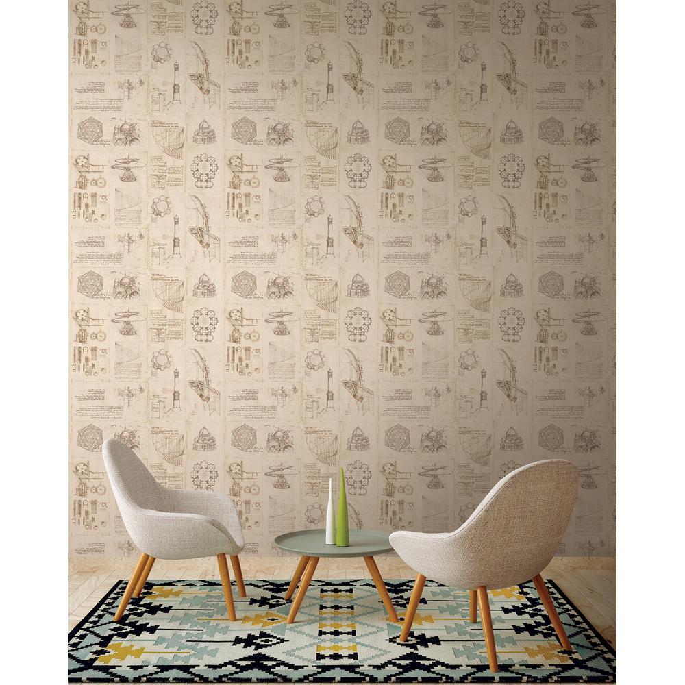 Schizzi Papiro Beige Sketch Wallpaper Sample