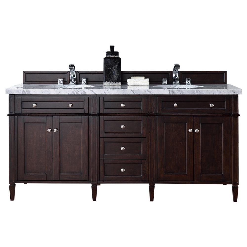 Astonishing James Martin Signature Vanities Brittany 72 In W Double Vanity In Burnished Mahogany With Marble Vanity Top In Carrara White With White Basin Interior Design Ideas Helimdqseriescom
