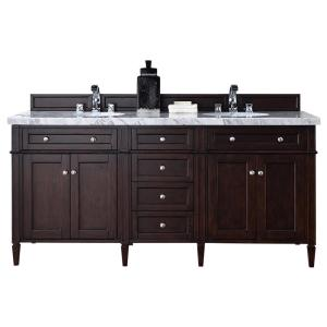 James Martin Signature Vanities Brittany 72 inch W Double Vanity in Burnished Mahogany with Marble Vanity Top in Carrara... by James Martin Signature Vanities
