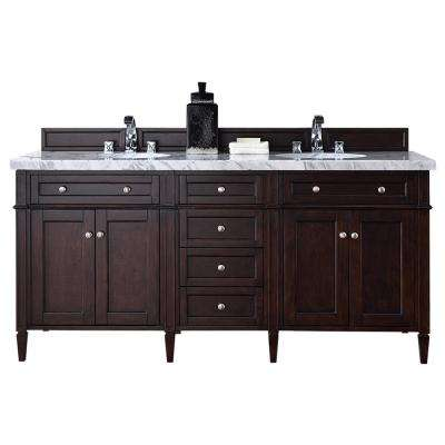 Brittany 72 in. W Double Vanity in Burnished Mahogany with Marble Vanity Top in Carrara White with White Basin