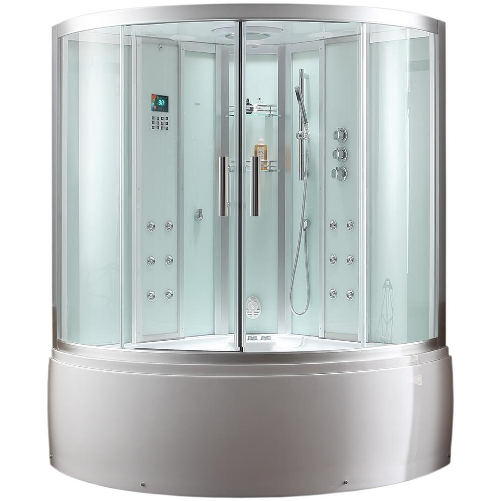 Ariel Platinum 59 in. x 89 in. x 59 in. Steam Shower Encl...