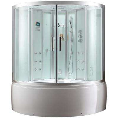 59 in. x 89 in. x 59 in. Steam Shower Enclosure Kit with Whirlpool Tub in White