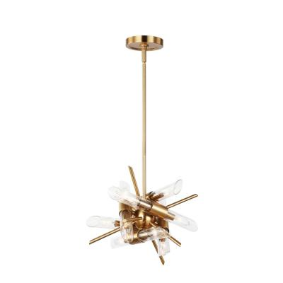 Quorra 12-Light Burnished Brass Chandelier with Clear Fluted Glass Shade