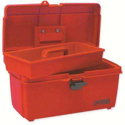 14 in. Plastic Red Tool Box with Metal Clasps