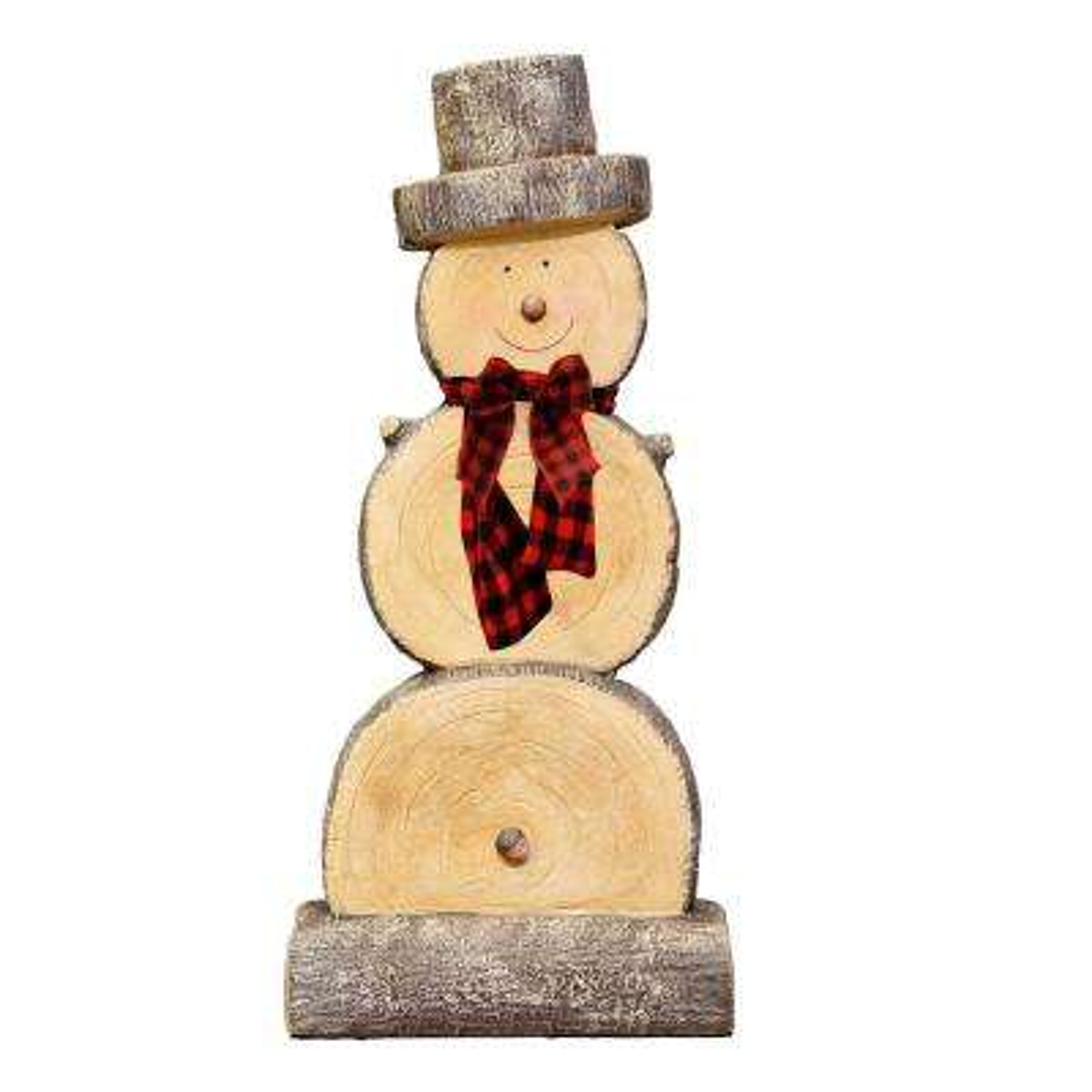 Alpine Corporation Wooden Christmas Snowman Statue, Festive Holiday Decoration Accessory