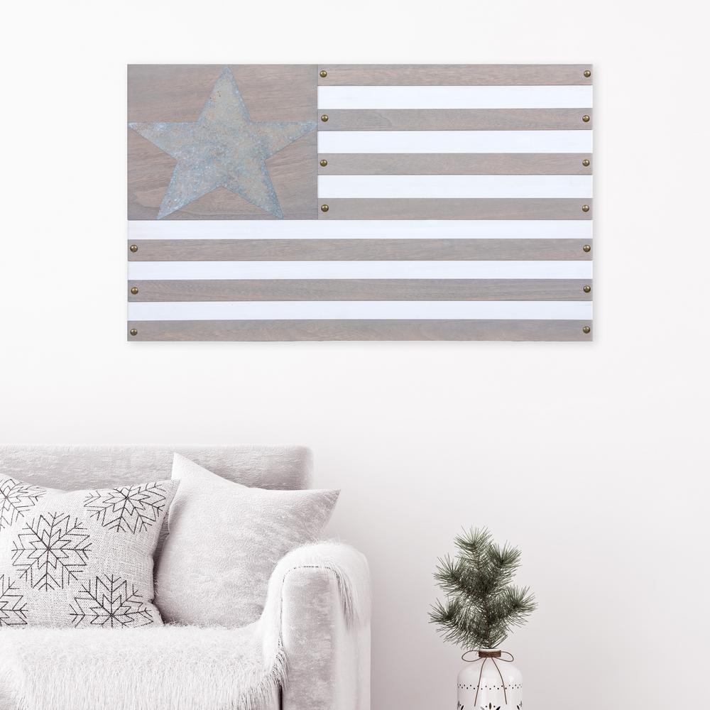 Americana Flag Framed Wooden Wall Art