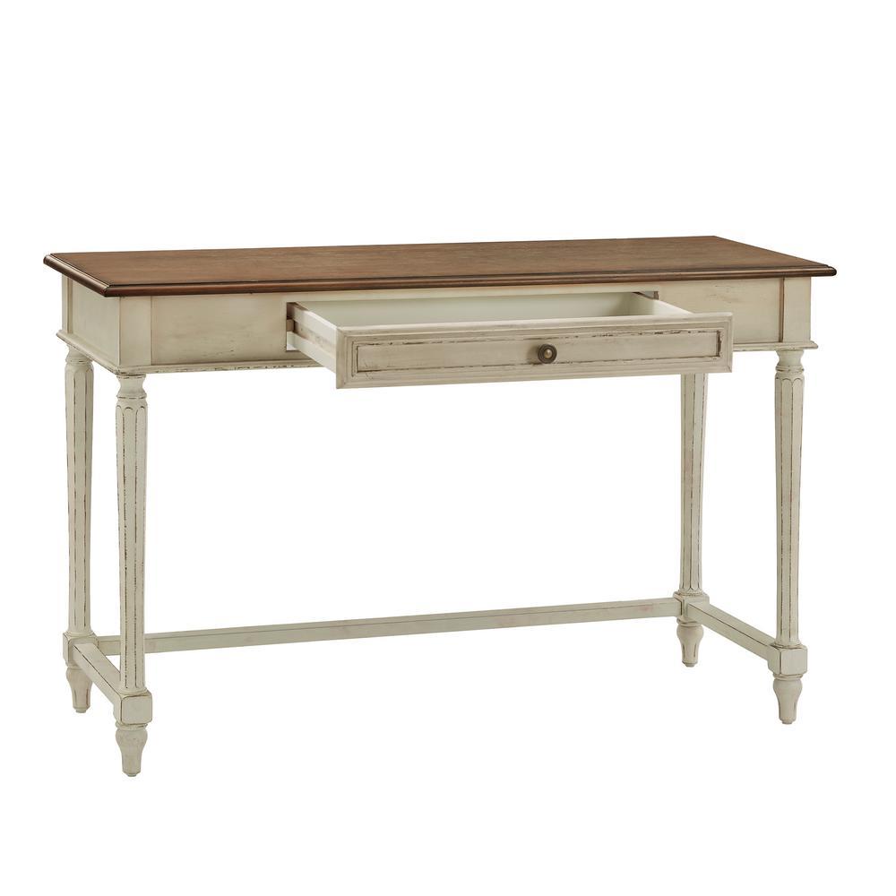 Brown Vintage French Fluted-Leg 1-Drawer Writing Desk