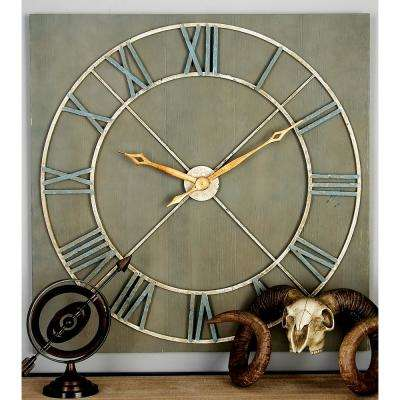 Gray Square Wooden Wall Clock