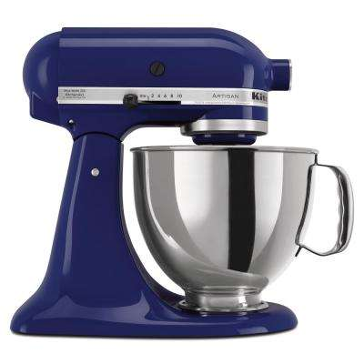 Artisan 5 Qt. 10-Speed Cobalt Blue Stand Mixer with Flat Beater, 6-Wire  Whip and Dough Hook Attachments