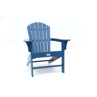 Hampton Navy Poly Outdoor Patio Plastic Adirondack Chair