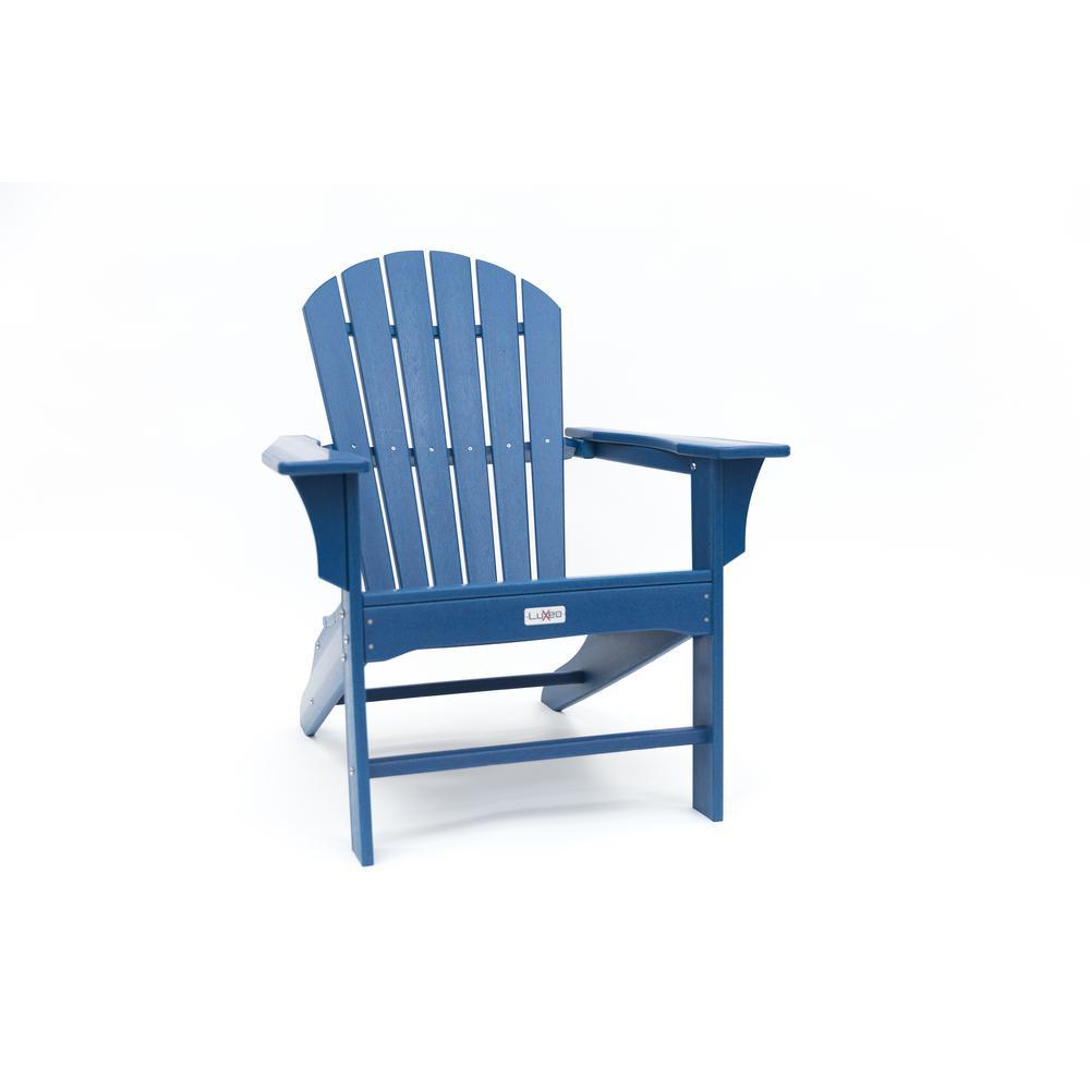 Hampton Navy Poly Outdoor Patio Plastic Adirondack Chair