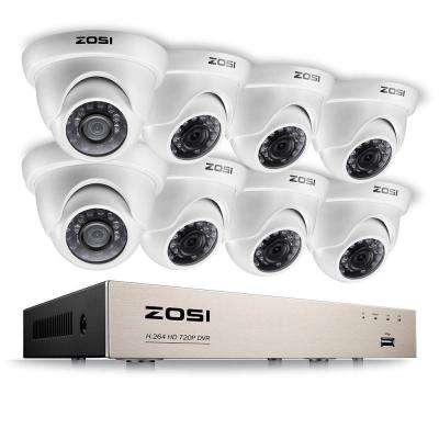 8-Channel 720p DVR Security Camera System with 8 Wired Dome Cameras