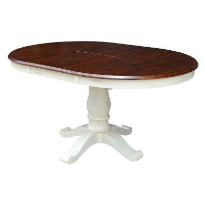 42 in. x 60 in. x 30 in. H Bal Harbour Espresso and Oyster Oval Extendable Pedestal Table