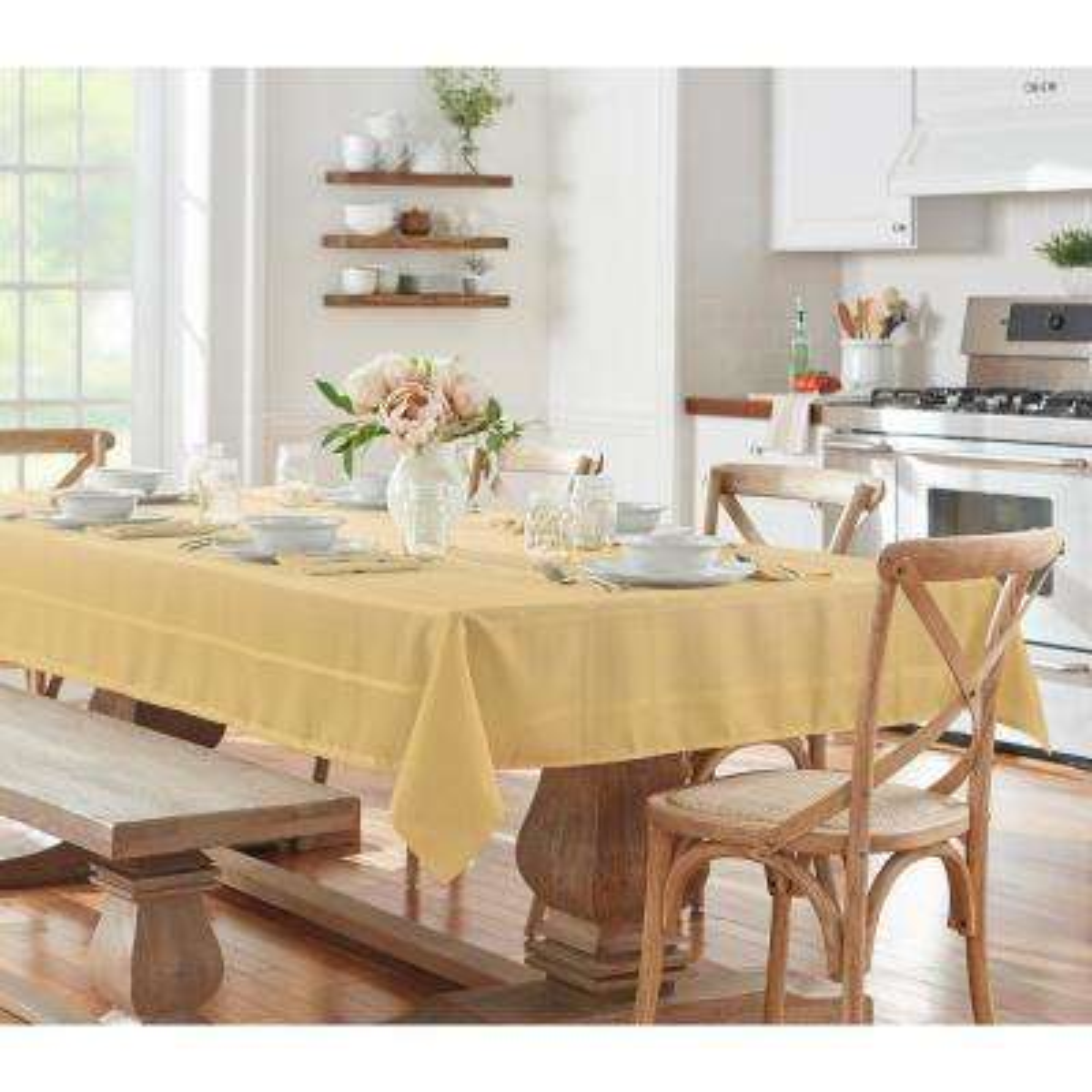 52 in. W x 52 in. L Ribbon Gold Elrene Elegance Plaid Damask Fabric Tablecloth