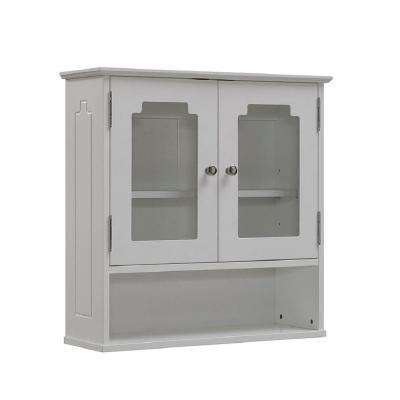 24 in. W x 24 in. H x 8 in. D Bathroom Storage Wall Cabinet with Glass Door in White