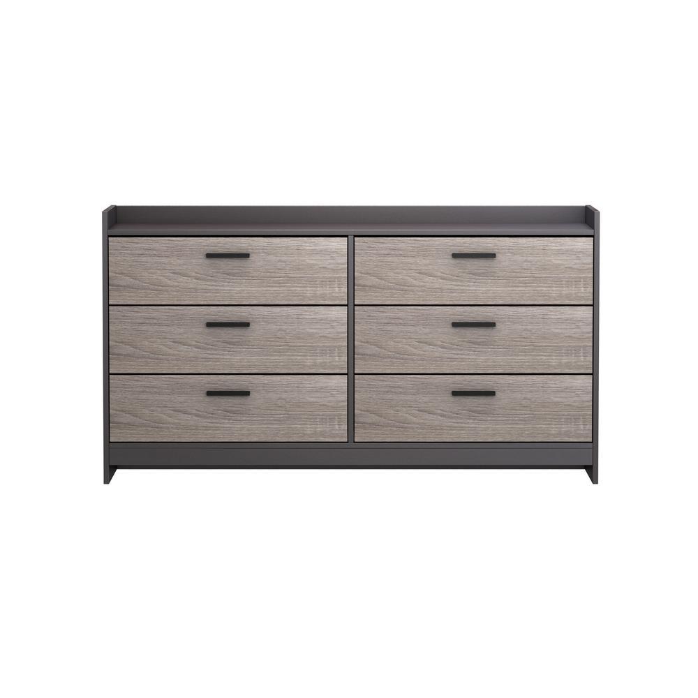 Central Park 6-Drawer Java Brown/Sonoma Dresser