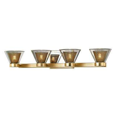 Wink 4-Light Gold Leaf 27.5 in. W LED Bath Light with Polished Chrome Accents and Clear Glass Shade
