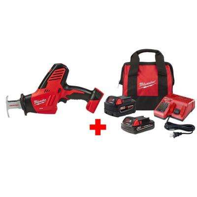 M18 18-Volt Lithium-Ion Cordless Hackzall Reciprocating Saw with One 5.0 Ah and One 2.0 Ah Battery, Bag and Charger