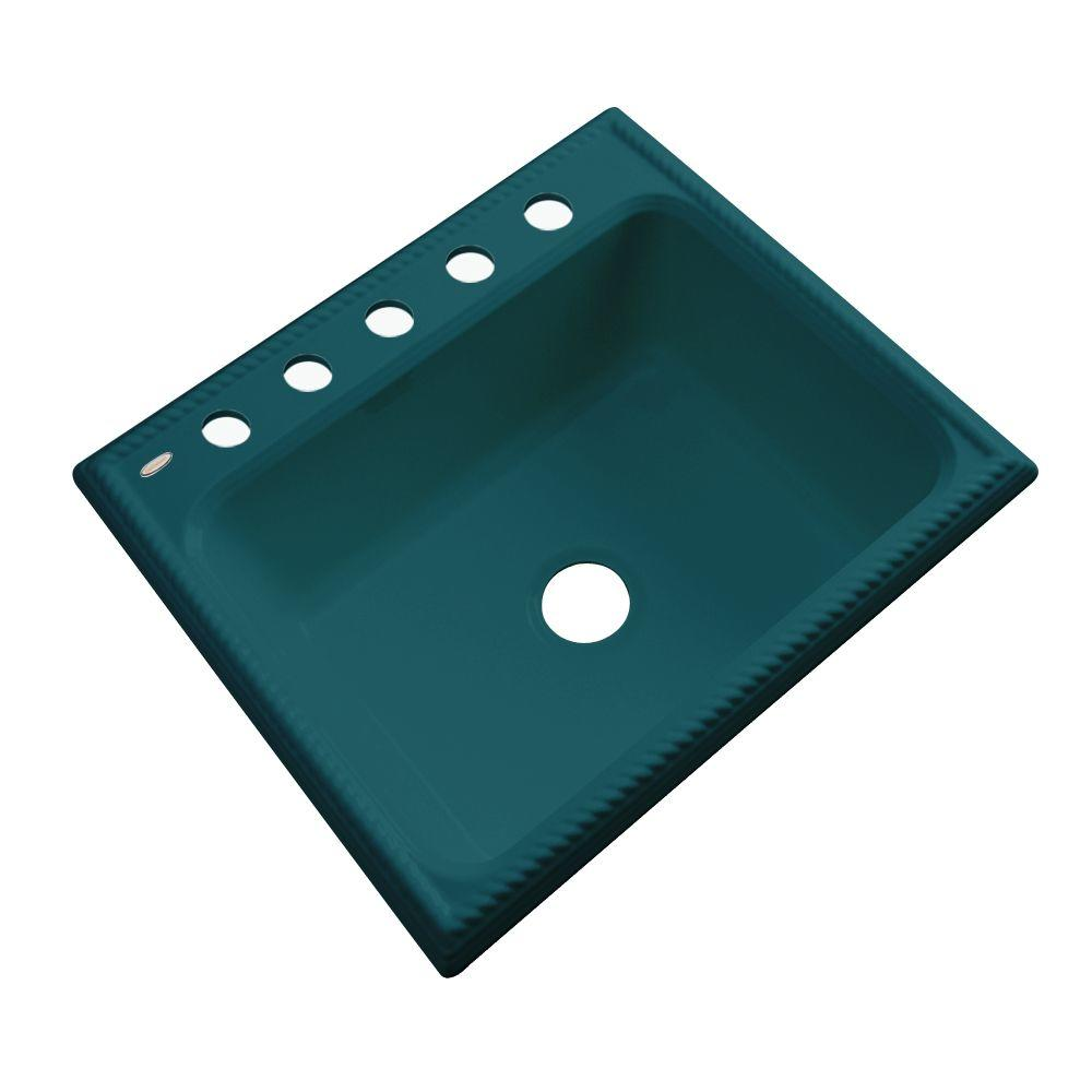Thermocast Wentworth Drop-In Acrylic 25 in. 5-Hole Single Basin Kitchen Sink in Teal