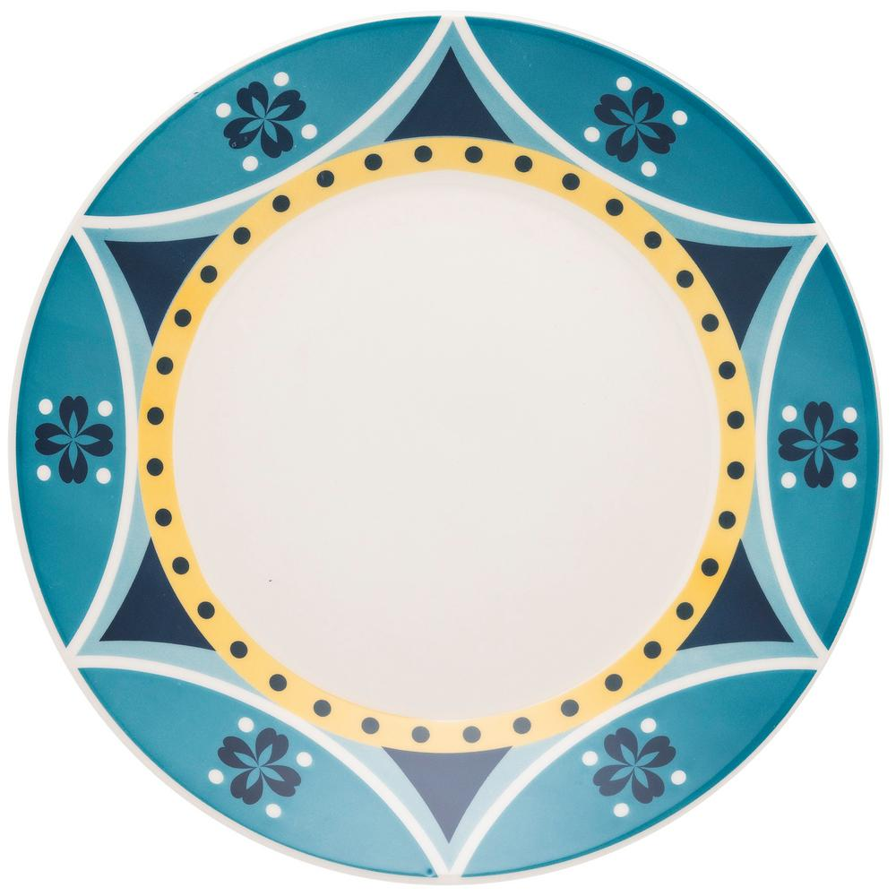 Manhattan Comfort 10.24 in. Actual Yellow and Blue Dinner Plates (Set of 6) was $69.99 now $36.34 (48.0% off)