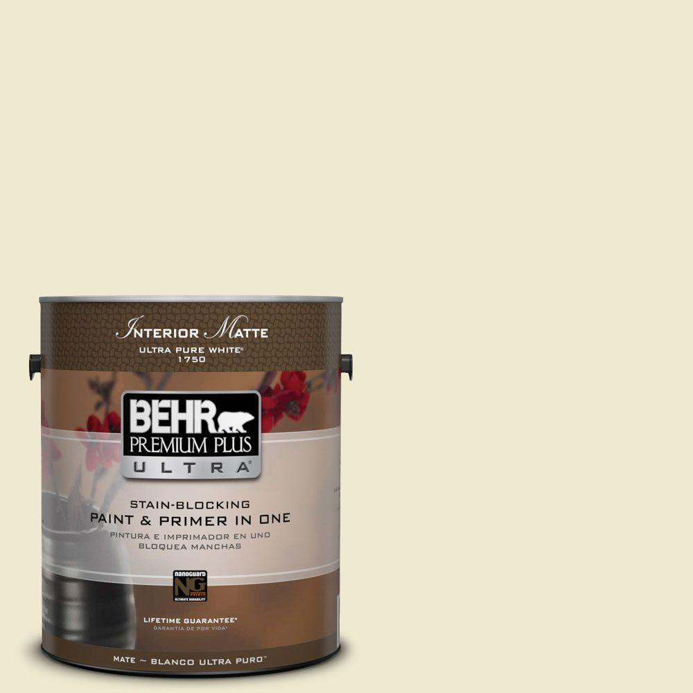 BEHR Premium Plus Ultra 1 gal. #M340-2 Floating Lily Matte Interior Paint