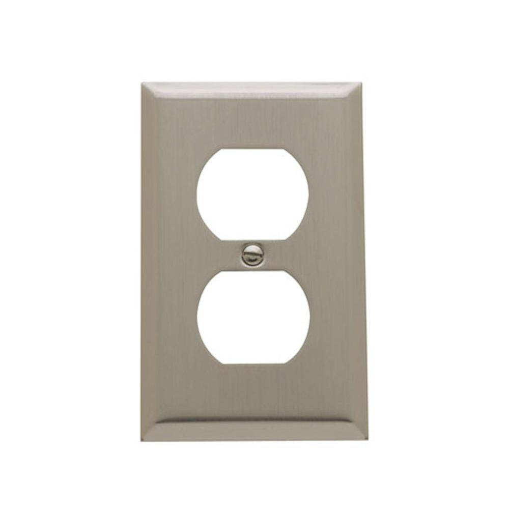 Baldwin Beveled Edge 1 Gang Wall Plate - Satin Nickel