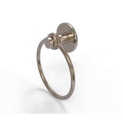 Mercury Collection Towel Ring with Twist Accent in Antique Pewter