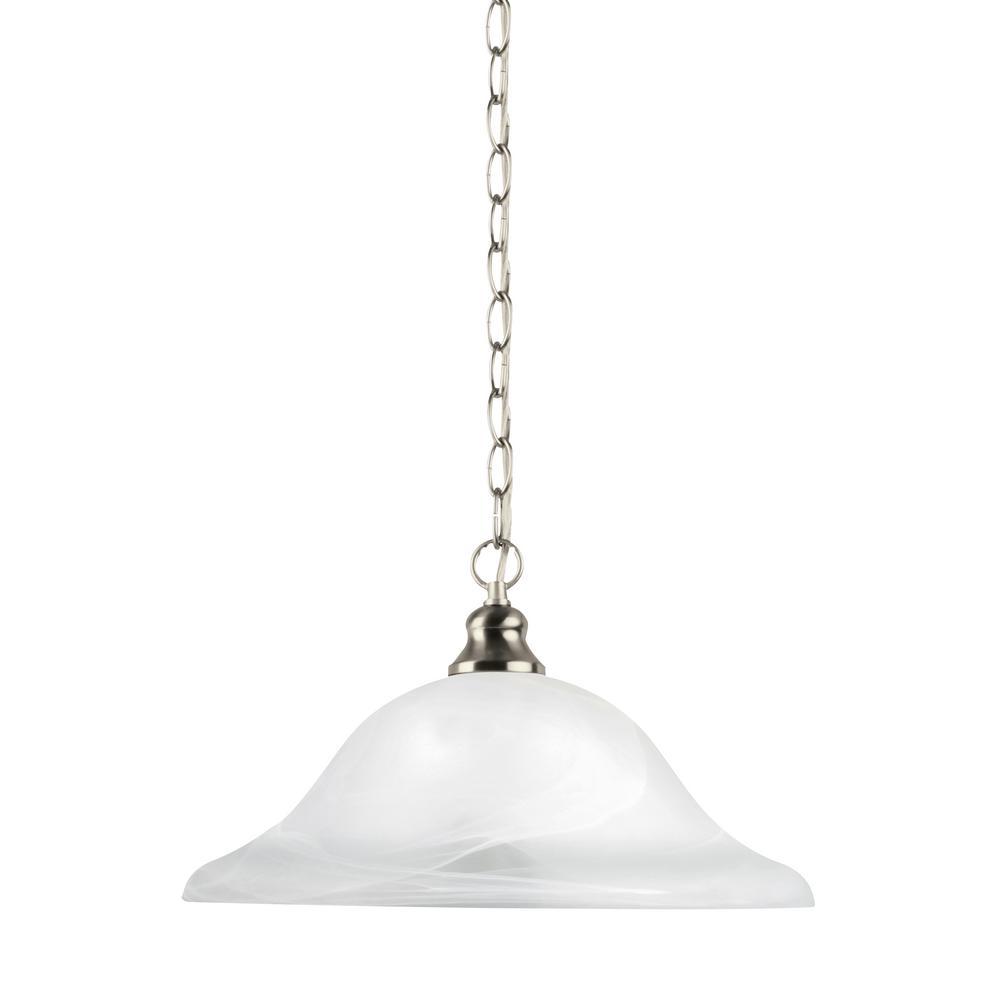 Sea Gull Lighting Windgate 1-Light Brushed Nickel Pendant with LED Bulb