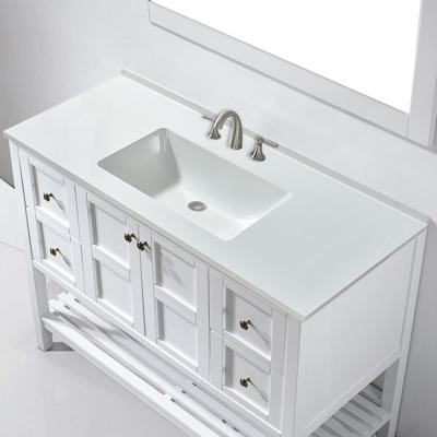 Brigg 49 in. W x 22 in. D Single Basin Solid Surface Vanity Top in Glossy White with Integrated White Basin