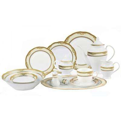 57-Piece Wavy Edge Gold Border Dinnerware Set