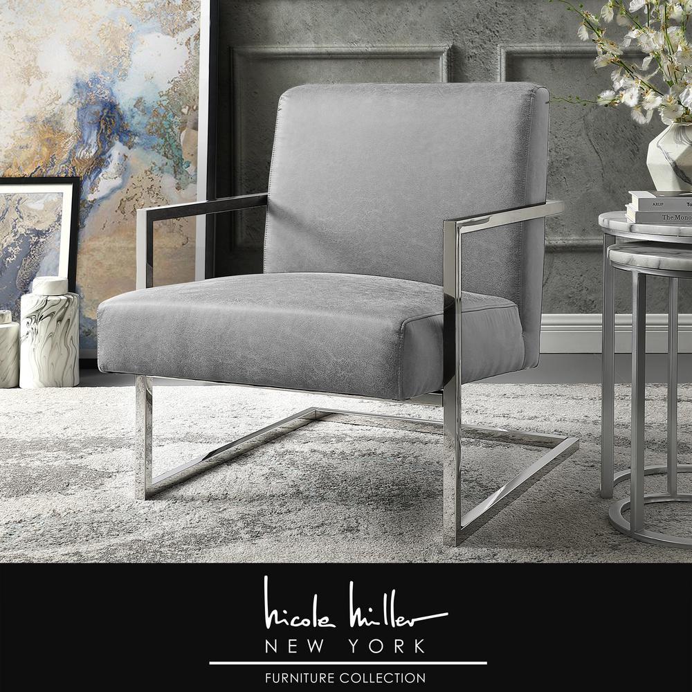 Fantastic Nicole Miller Konnor Light Grey Chrome Pu Leather Accent Cjindustries Chair Design For Home Cjindustriesco