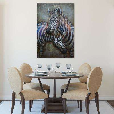 "48 in. X 32 in. ""Zebras"" Mixed Media Iron Hand Painted Dimensional Wall Art"